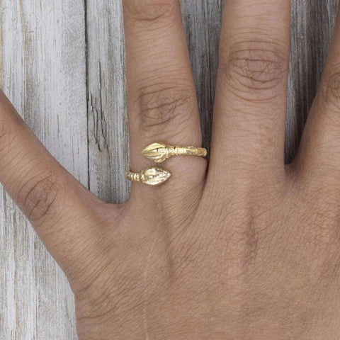 090 West Indian Bangle Ring with Cocoa Pods Handmade in 10K Yellow Gold
