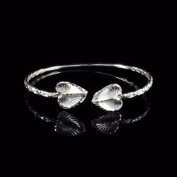 110 West Indian Bangle with Anthurium Calypso Pattern Handmade in 925 Sterling Silver