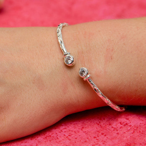 110 West Indian Bangle with CZ April Birthstone Handmade in Sterling Silver