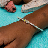 110 West Indian Bangle with Synthetic Peridot August Birthstone Handmade in Sterling Silver