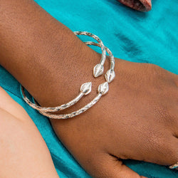 110 West Indian Bangle with Cocoa Pods Handmade in 925 Sterling Silver - SOLD INDIVIDUALLY