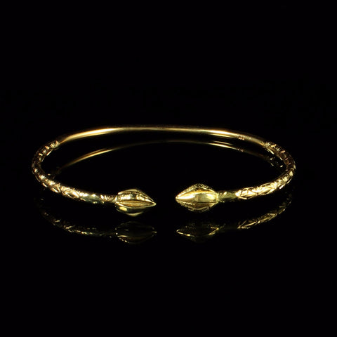 110 West Indian Bangle with Cocoa Pods and Calypso Pattern Handmade in 14K Yellow Gold