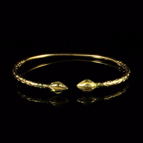 110 West Indian Bangle with Cocoa Pods and Calypso Pattern Handmade in 10K Yellow Gold