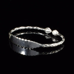 Engravable 110 West Indian Bangle with Cocoa Pods Handmade in 925 Sterling Silver