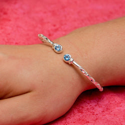 110 West Indian Bangle with Blue Zircon December Birthstone Handmade in Sterling Silver