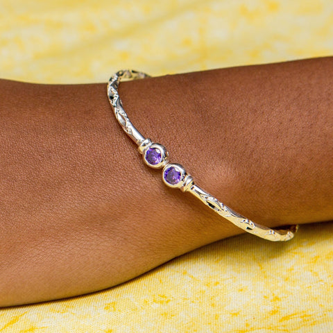 110 West Indian Bangle with Synthetic Amethyst February Birthstone Handmade in Sterling Silver