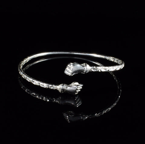 110 West Indian Bangle with Fists Calypso Pattern Handmade in 925 Sterling Silver