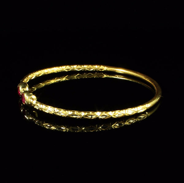 110 West Indian Bangle Synthetic Garnet January Birthstone Calypso Pattern Handmade in 10K Yellow Gold