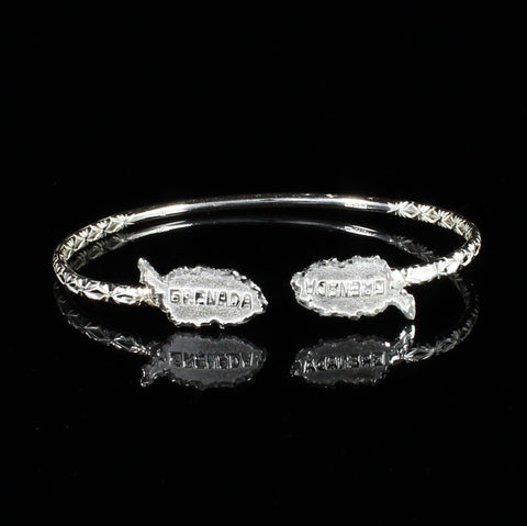 110 West Indian Bangle with Grenada Map Calypso pattern Handmade in 925 Sterling Silver