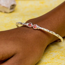 110 West Indian Bangle with Synthetic Garnet January Birthstone Handmade in Sterling Silver