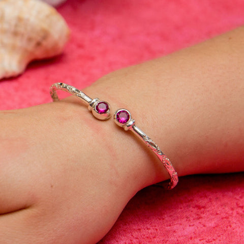 110 West Indian Bangle with Synthetic Ruby July Birthstone Handmade in Sterling Silver