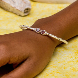 110 West Indian Bangle with Synthetic Alexandrite June Birthstone Handmade in Sterling Silver