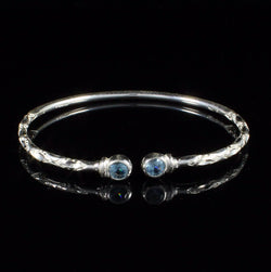 110 West Indian Bangle with Synthetic Aquamarine March Birthstone Handmade in Sterling Silver