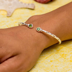 110 West Indian Bangle with Synthetic Emerald May Birthstone Handmade in Sterling Silver