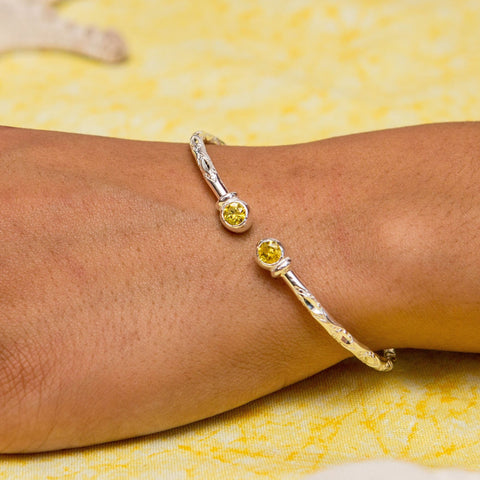 110 West Indian Bangle with Synthetic Yellow Topaz November Birthstone Handmade in 925 Sterling Silver