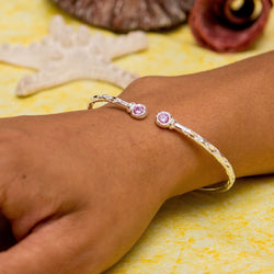 110 West Indian Bangle with Pink CZ October Birthstone Handmade in Sterling Silver