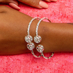 110 West Indian Bangle with Steel Pan Handmade in 925 Sterling Silver - SOLD INDIVIDUALLY