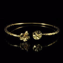 110 West Indian Bangle with Hibiscus and Steel Pan and Calypso Pattern Handmade in 10K Yellow Gold