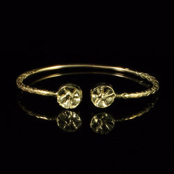110 West Indian Bangle with Steel Pan and Calypso Pattern Handmade in 10K Yellow Gold