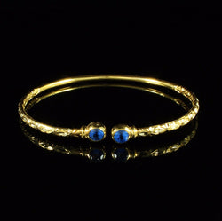 110 West Indian Bangle Synthetic Sapphire September Birthstone Calypso Handmade 10K Yellow Gold