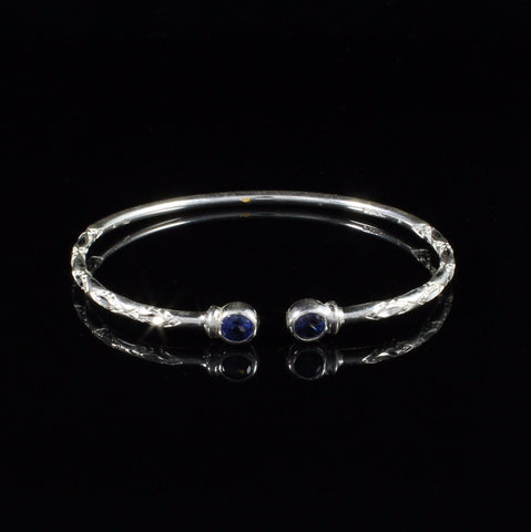 110 West Indian Bangle with Synthetic Sapphire September Birthstone Handmade in Sterling Silver