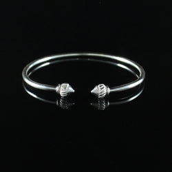 110 West Indian Bangle with Taj Mahal  with Plain Polished Finish Handmade in 925 Sterling Silver