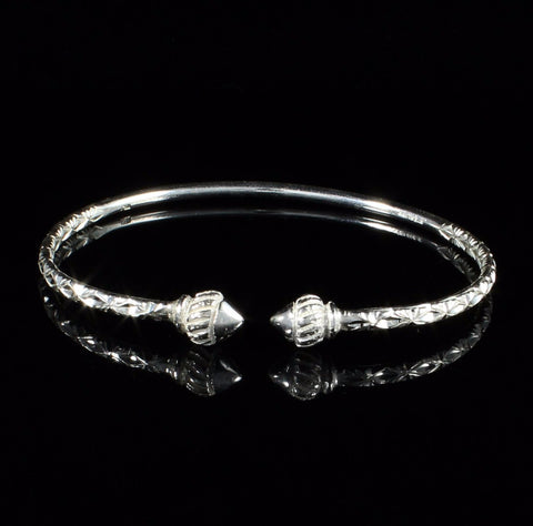 110 West Indian Bangle with Taj Mahal Calypso Pattern Handmade in 925 Sterling Silver