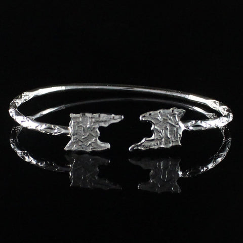 110 West Indian Bangle with Trinidad Map Handmade in 925 Sterling Silver