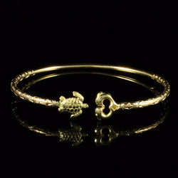 110 West Indian Bangle with Turtle and Dolphin with Calypso Pattern Handmade in 10K Yellow Gold