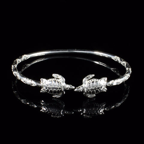 110 West Indian Bangle with Turtles Handmade in 925 Sterling Silver