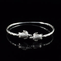 110 West Indian Bangle with Turtles Calypso Pattern Handmade in 925 Sterling Silver - Sold Individually