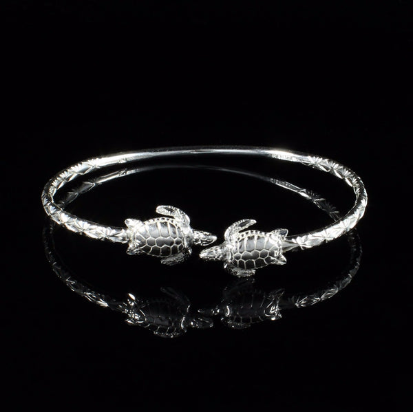 110 West Indian Bangle with Turtles Calypso Pattern Handmade in 925 Sterling Silver