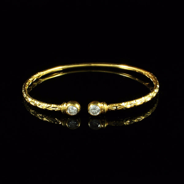 110 West Indian Bangle with White CZ April Birthstone and Calypso Pattern Handmade in 10K Yellow Gold