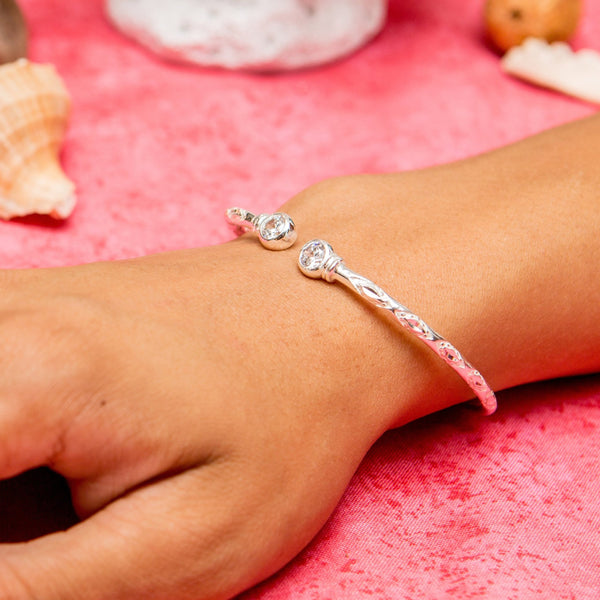 125 West Indian Bangle with White CZ April Birthstone Handmade in Sterling Silver