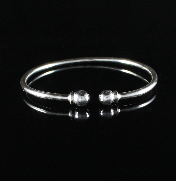 125 West Indian Bangle with Solid Ball Plain Handmade in 925 Sterling Silver