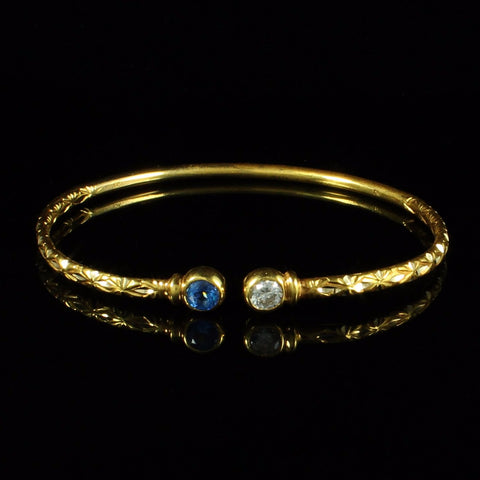 125 West Indian Bangle with Synthetic Stones Blue and White CZ Handmade in 10K Yellow Gold