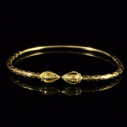 125 West Indian Bangle with Cocoa Pods and Calypso Pattern Handmade in 14K Yellow Gold