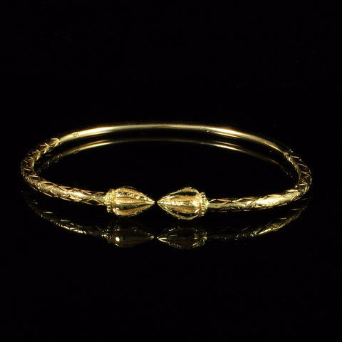 125 West Indian Bangle with Cocoa Pods and Calypso Pattern Handmade in 10K Yellow Gold