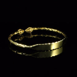 Engravable 125 West Indian Bangle with Cocoa Pods Handmade in 10K Yellow Gold