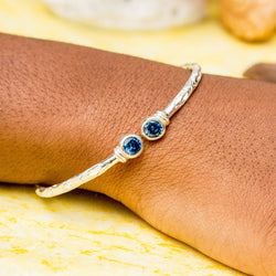 125 West Indian Bangle with Blue Zircon December Birthstone Handmade in Sterling Silver