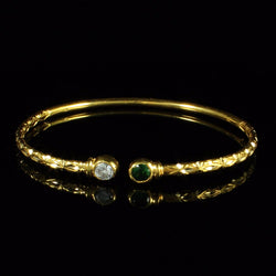 125 West Indian Bangle with Synthetic Stones Emerald and White CZ Handmade in 10K Yellow Gold