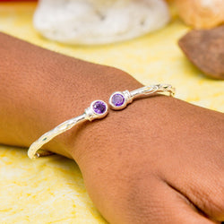 125 West Indian Bangle with Synthetic Amethyst February Birthstone Handmade in Sterling Silver