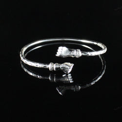 125 West Indian Bangle with Fists Calypso Pattern Handmade in 925 Sterling Silver