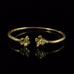 125 West Indian Bangle with Hibiscus and Calypso Pattern Handmade in 10K Yellow Gold