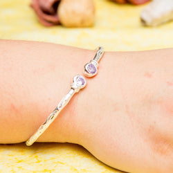 125 West Indian Bangle with Synthetic Alexandrite June Birthstone Handmade in Sterling Silver