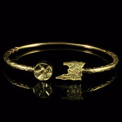 125 West Indian Bangle with Trinidad Map and Steel Pan and Calypso Pattern Handmade in 10K Yellow Gold