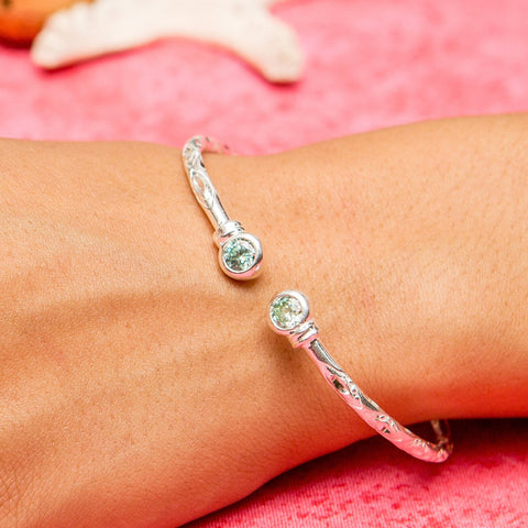 125 West Indian Bangle with Synthetic Aquamarine March Birthstone Handmade in Sterling Silver