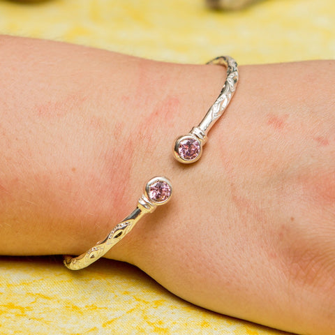 125 West Indian Bangle with Pink CZ October Birthstone Handmade in Sterling Silver