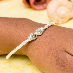 125 West Indian Bangle with Synthetic Peridot August Birthstone Handmade in Sterling Silver