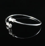 125 West Indian Bangle with Fists Plain Polished Handmade in 925 Sterling Silver